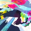 nenco:まばたきが走る - 2012年 女子美術大学 洋画専攻 版画コース卒業【F10(530×455mm)/ミクストメディア、アクリル絵具、シルクスクリーンインク、ペン等を用いて制作】