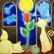 市川七重:初夏、薔薇は待っている - 美女と野獣に出てくる一輪の薔薇、初夏の星座の大熊座、子熊座、乙女座 2007年女子美術大学洋画専攻卒業。現在、児童擁護施設にて保育職員勤務。【 530×544mm/キャンバス、アクリル 】