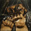 横山 芙実/YOKOYAMA Fumi:クラシ - 石垣りんの詩、「くらし」に寄せて【300×300㎜/ベニヤ板、岩絵具】
