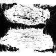 池晶(イケ・ショウ/Chi Jing)【中国】:風 ー 森と海を比べたら、私は森がもっと好きです。静かに落ち着ける。木と木の間に漏れた風は食えるほどおいしさを感じる。【334×212mm/紙】