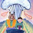 どんぐりとやまねこ:一郎とやまねこ - 【224×316mm /アクリル、色鉛筆、マーカー】